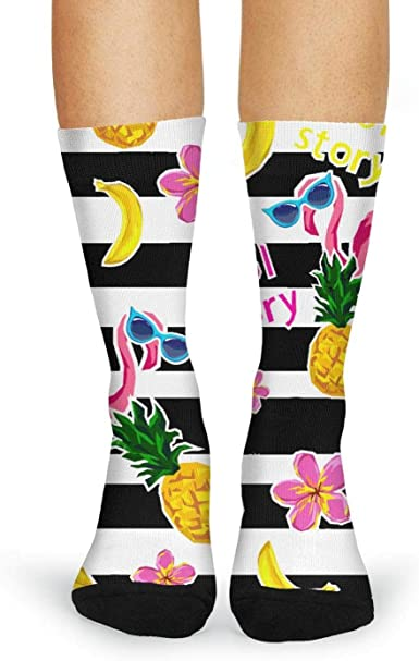 Tropical Yellow Flowers Pattern Compression Socks For Women 3D Print Knee High Boot