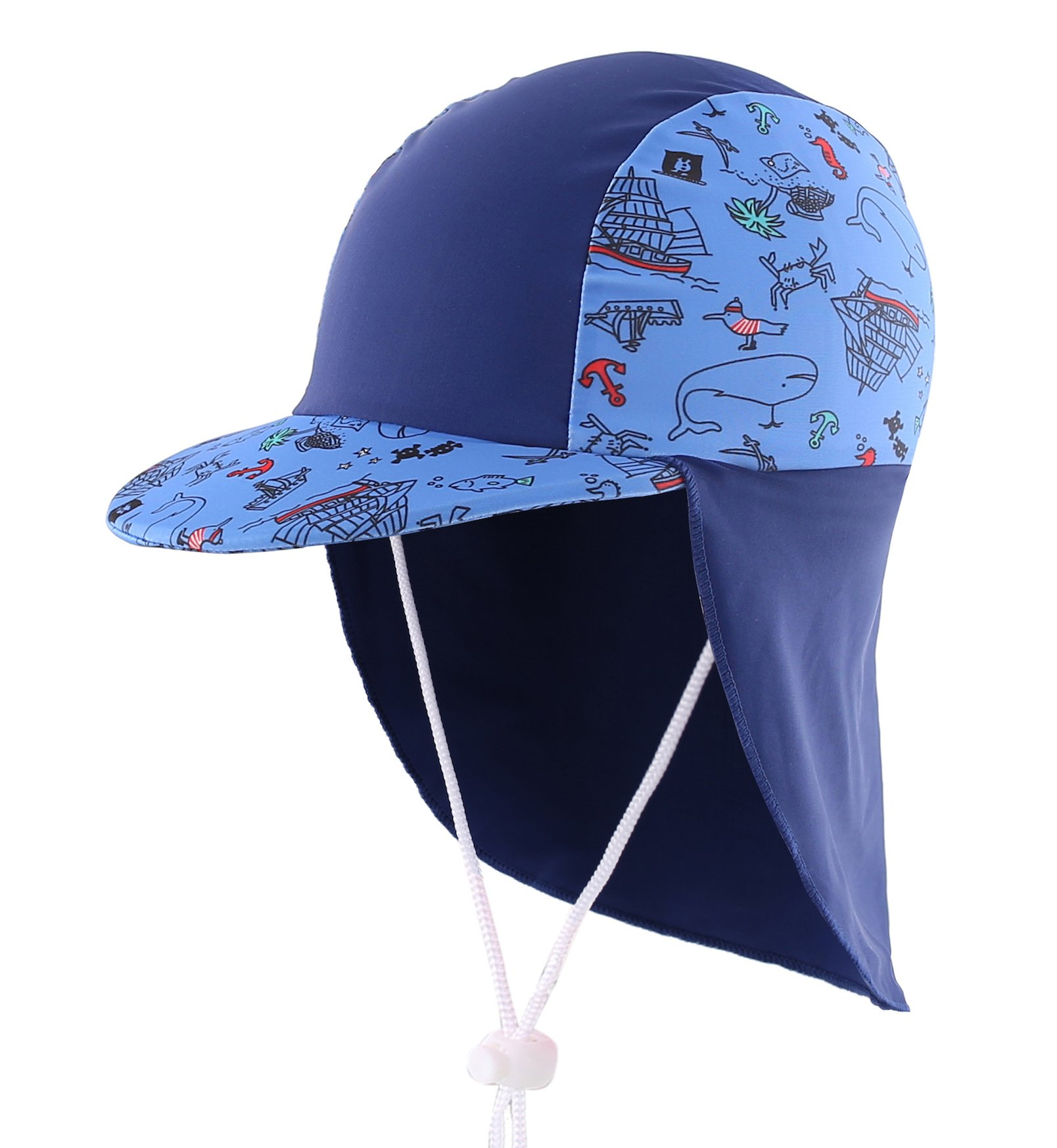 Home Prefer Boys Sun Hat Long Flap Quick Dry Sun Protection Cap with Visor Surf up Swim Hat Ocean by Home Prefer
