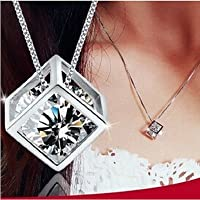 ITS -New Fashion Women Jewelry Necklace Magic Cube Sterling Silver 925 Crystal Chain Pendant
