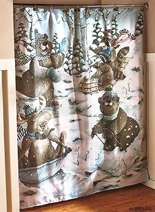 Amazon Com Winter Snow Fun Bear Moose Fabric Shower Curtain Lodge