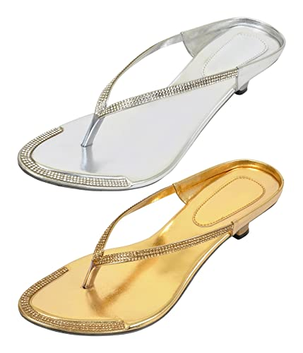 b3ee031ecb3780 Altek Stylish Silver and Golden Fashion Sandals Pack of - 2 Pairs (Size - 3