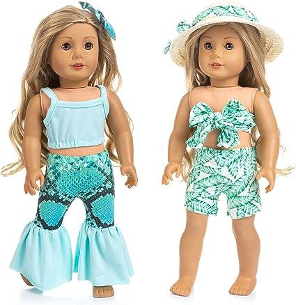 Skir Suits for American 18/'/' Girl Doll Bathing Suit Summer Bikini Swimwear Top