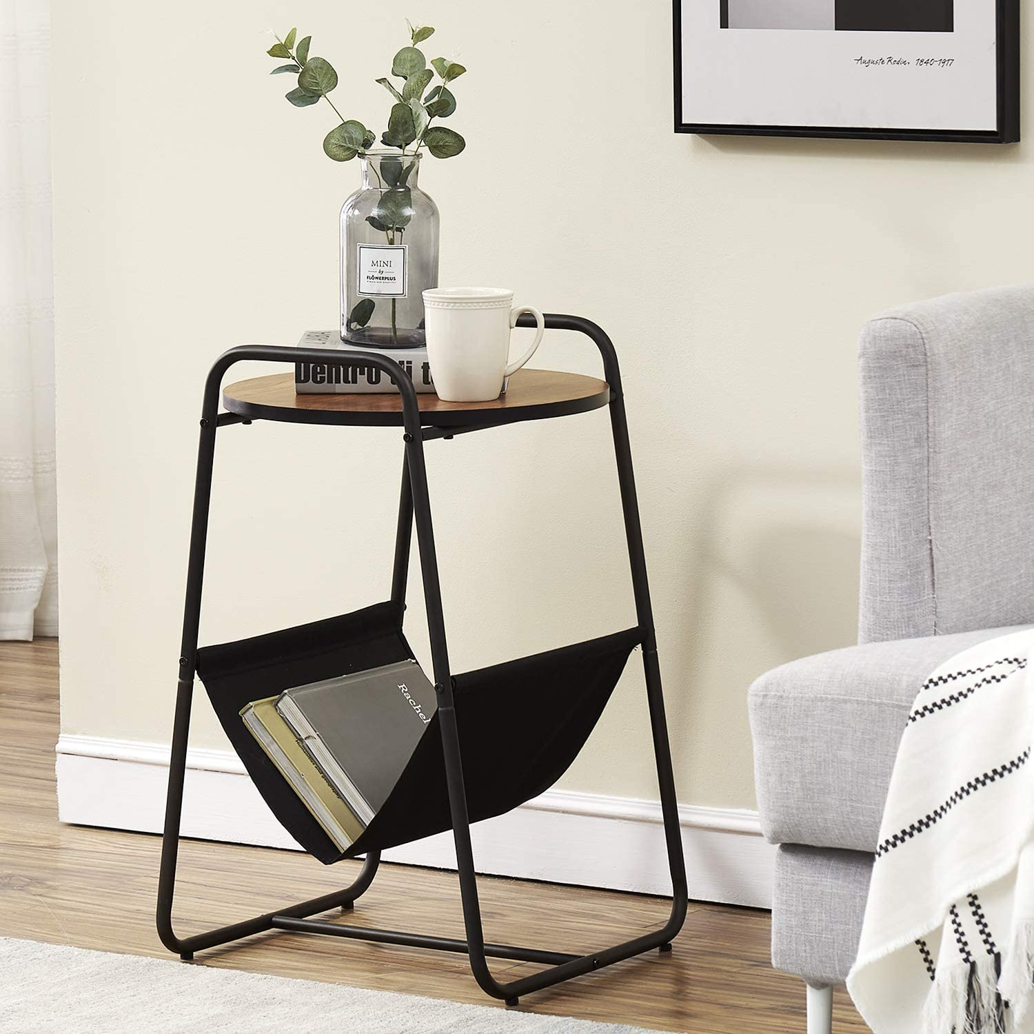 VECELO 2-Tier End/Side/Coffee/Table Nightstand for Small Space, Wood Look Accent Furniture with Metal Frame, Brown