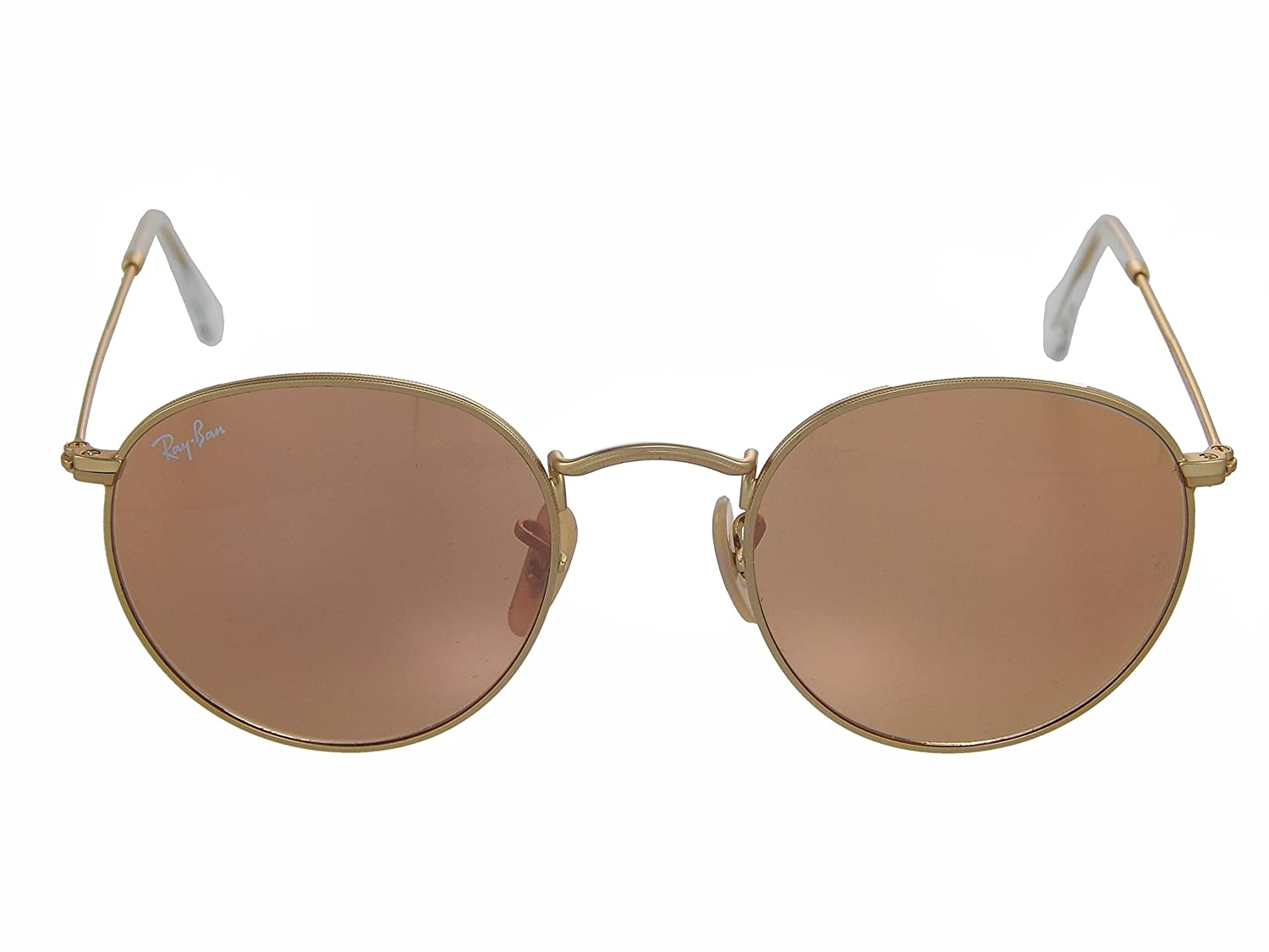 e6726ce59b Amazon.com  New Ray Ban RB3447 112 Z2 Matte Gold Brown Pink Mirror 50mm  Sunglasses  Shoes