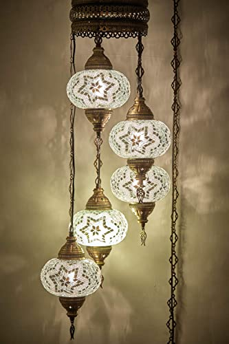 Customizable Globes DEMMEX 2019 Hardwired or PLUGIN 5 Globes Chandelier Lights Turkish Moroccan Mosaic Ceiling Hanging Pendant Chandelier Light Lighting PlugIn with 15feet Cord,Chain Plug