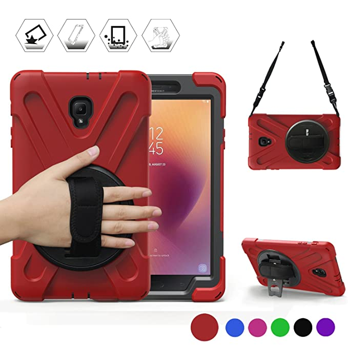 Tab A 8 0 T380 Case, BRAECN Three Layer Heavy Duty Soft Silicone Hard  Bumper Case Built-in Stand Shockproof Durable Rugged Case for Samsung  Galaxy Tab
