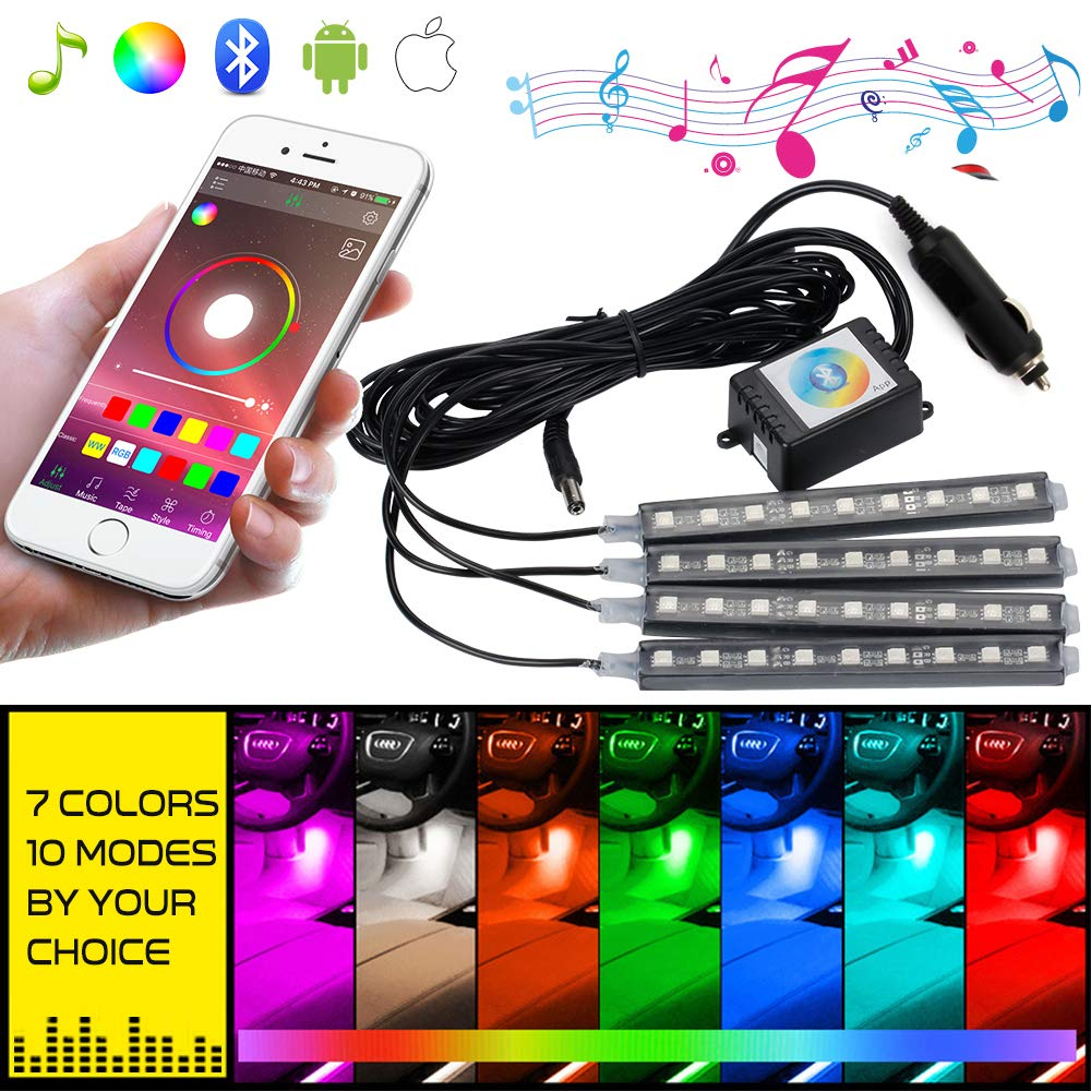 Interior Car Lights Mihaz Led Strip Lights4pcs Quick Adapter Wiring Connector Multi Color Rgb 5050smd Underdash Lighting Kit With Music Control By Bluetooth Automotive