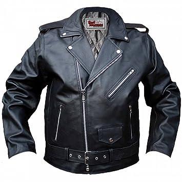German Wear Chaqueta de Piel para Moto Rockabilly Rocker, Negro, 48: Amazon.es: Coche y moto