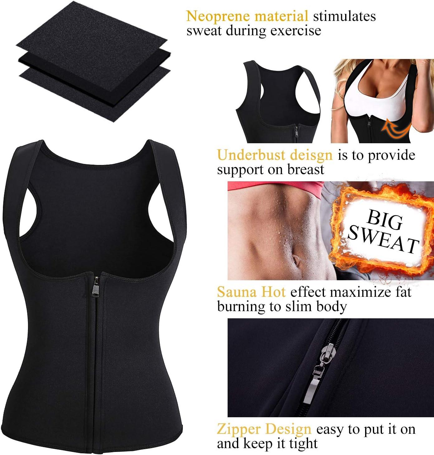 Wonderience Women Neoprene Sauna Suit Waist Trainer Vest for Weight Loss Hot Thermal Corset Body Shaper Zipper Tank Top Workout Shirt