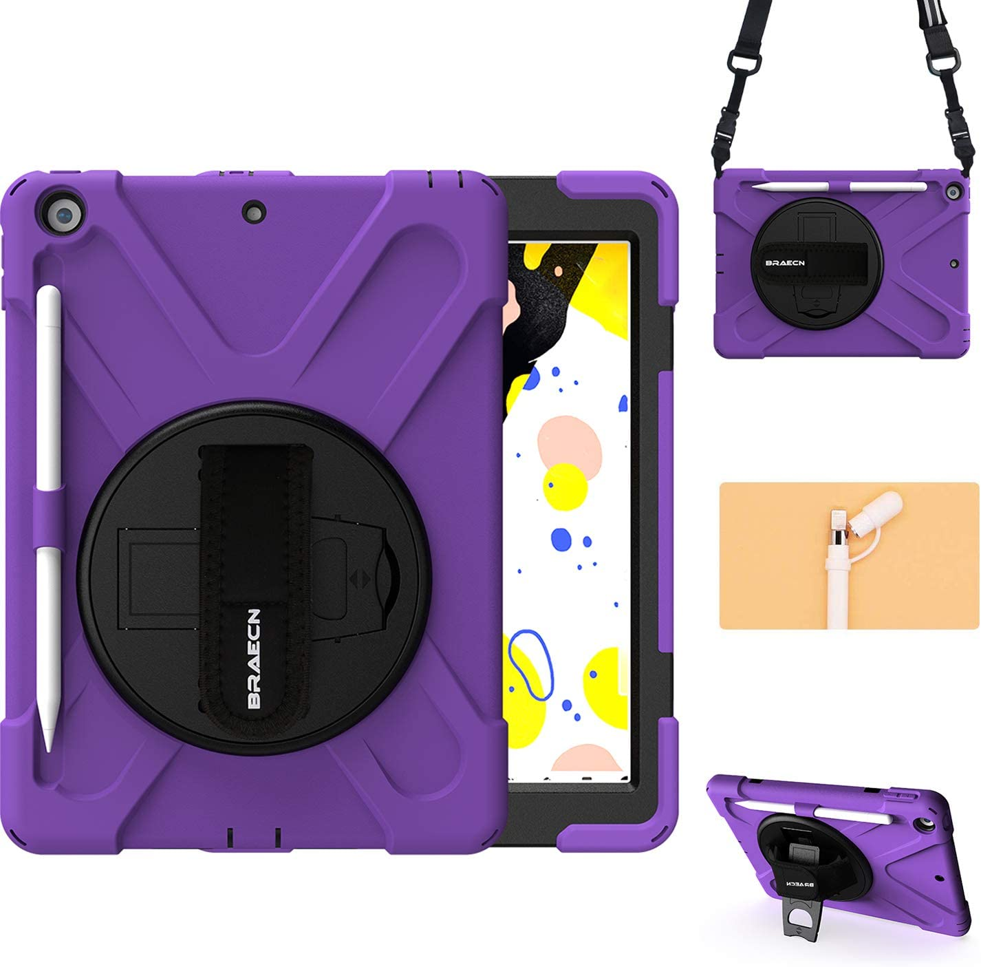 "BRAECN Case for New iPad 10.2"" 2020/2019, 8th/7th Generation iPad Case with [Pencil Holder][Pencil Cap Holder][Hand Strap][Carrying Strap][Kickstand] Rugged Shockproof Cover for Kids Girls Boys-Purple"