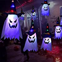 Halloween led Light String Ghost Glowing Witch Hat String Light Decorations 5Pcs, 5 Modes Halloween Décor DIY Pendant…