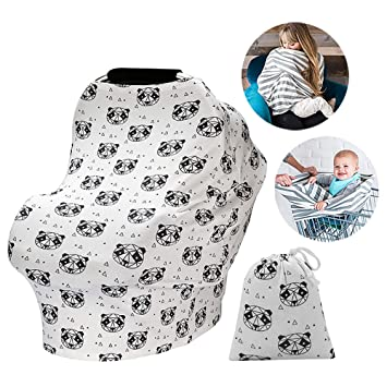 Nursing Cover for Breastfeeding Busy Mom Baby Car Seat Canopy Super Soft Cotton Multi Use Nursing Scarf Infant Stroller Cover for Girls and Boys