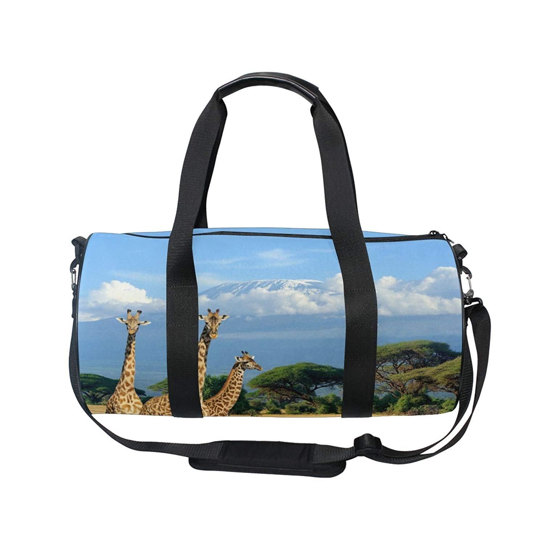 OuLian Sports Bag Wild Giraffe Under Sky Mens Duffle Luggage Travel Bags Kid Lightweight Gym Bag