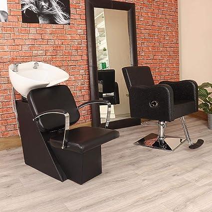 3 piezas Negro pelo Salon retrolavado unidad y reclinable ...
