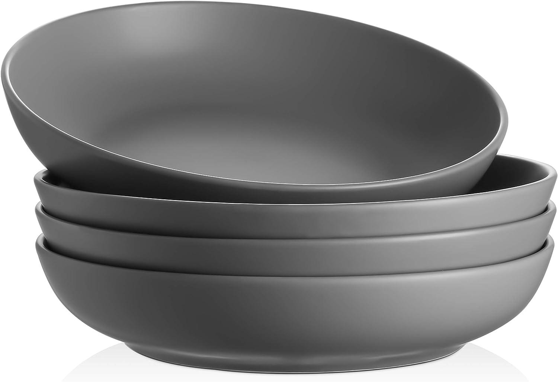 Y YHY Pasta Bowls 32oz, Large Salad Serving Bowls, Soup Bowls Set of 4, Porcelain Pasta Plates and Bowls Sets, Microwave Dishwasher Safe, Grey