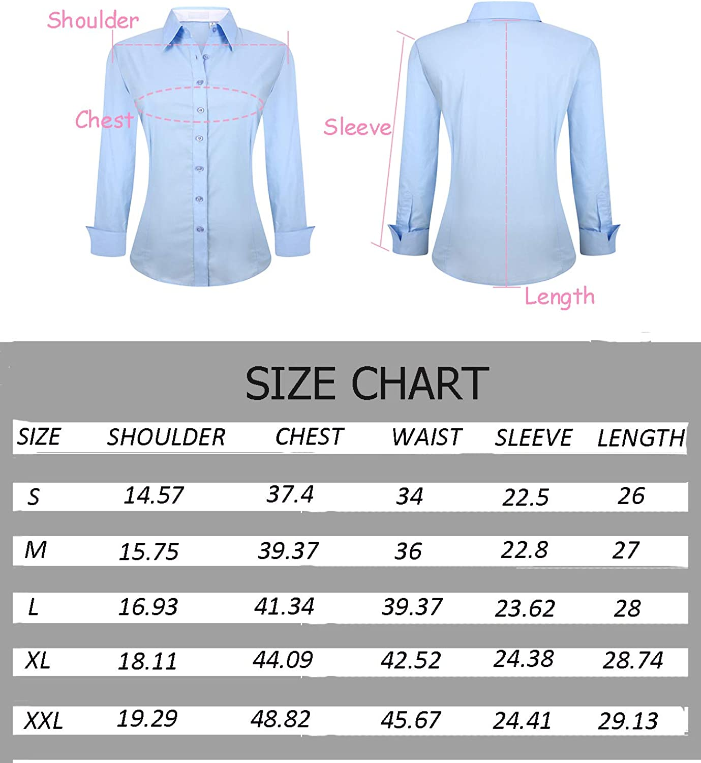 Esabel.C Womens Button Down Shirts Long Sleeve Regular Fit Cotton Stretch Work Blouse at  Women's Clothing store