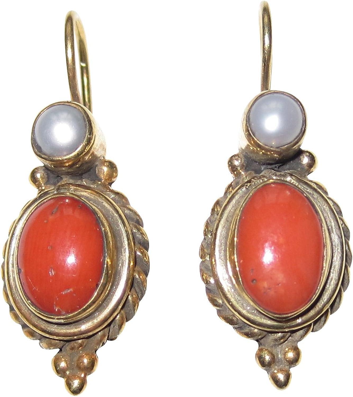 Pendientes de coral de color naranja-rojo, perlas de agua dulce, colgante auténtico, gancho con cierre, plata chapada en oro, hecho a mano, retro, vintage, ligero, único, aspecto antiguo italiano