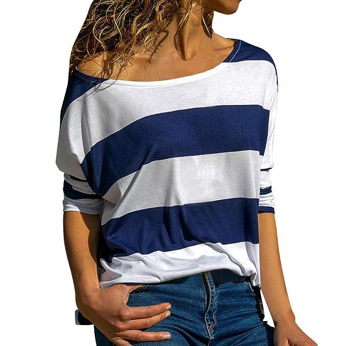Luckycat Camisa de Manga Larga a Rayas con Cuello en V para Mujer Blusa de Camiseta