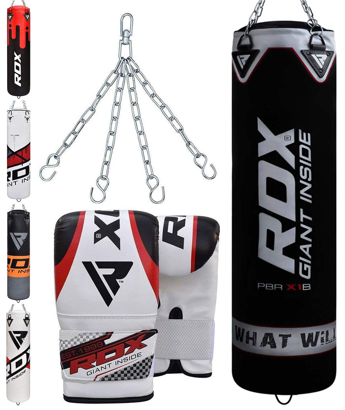 Kickboxing MMA Wall Bracket,Great for Grappling BJJ /& Taekwondo,/Muay Thai Comes in 4ft//5ft RDX 17PC Punch Bag for Boxing Training,Filled Heavy Bag Set with Punching Gloves Chain Karate