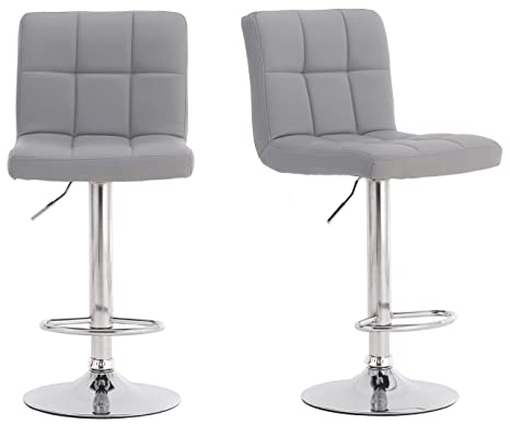designer fashion 367d0 8f17a Millhouse Pair of Cuban Bar Stools Set with Backrest, Leatherette Exterior,  Adjustable Swivel Gas Lift, Chrome Footrest and Base for Breakfast Bar, ...