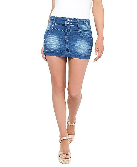 3c6bf44b3 KRISP 3443-BLU-06, Falda Mujer Micro Minifalda Vaquera Desgastada Elástica  Cintura, Azul, 34