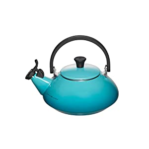 Le Creuset Q9213-17 Enamel-on-Steel Zen 1-2/3-Quart Teakettle, Caribbean, 1.6 Quart,