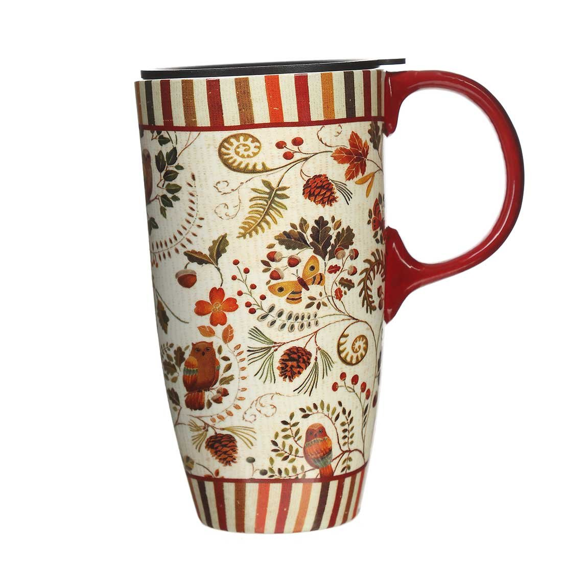 Cypress Home Tall Ceramic Travel Mug Coffee Cup with Lid 17oz.Purple Flower LTD
