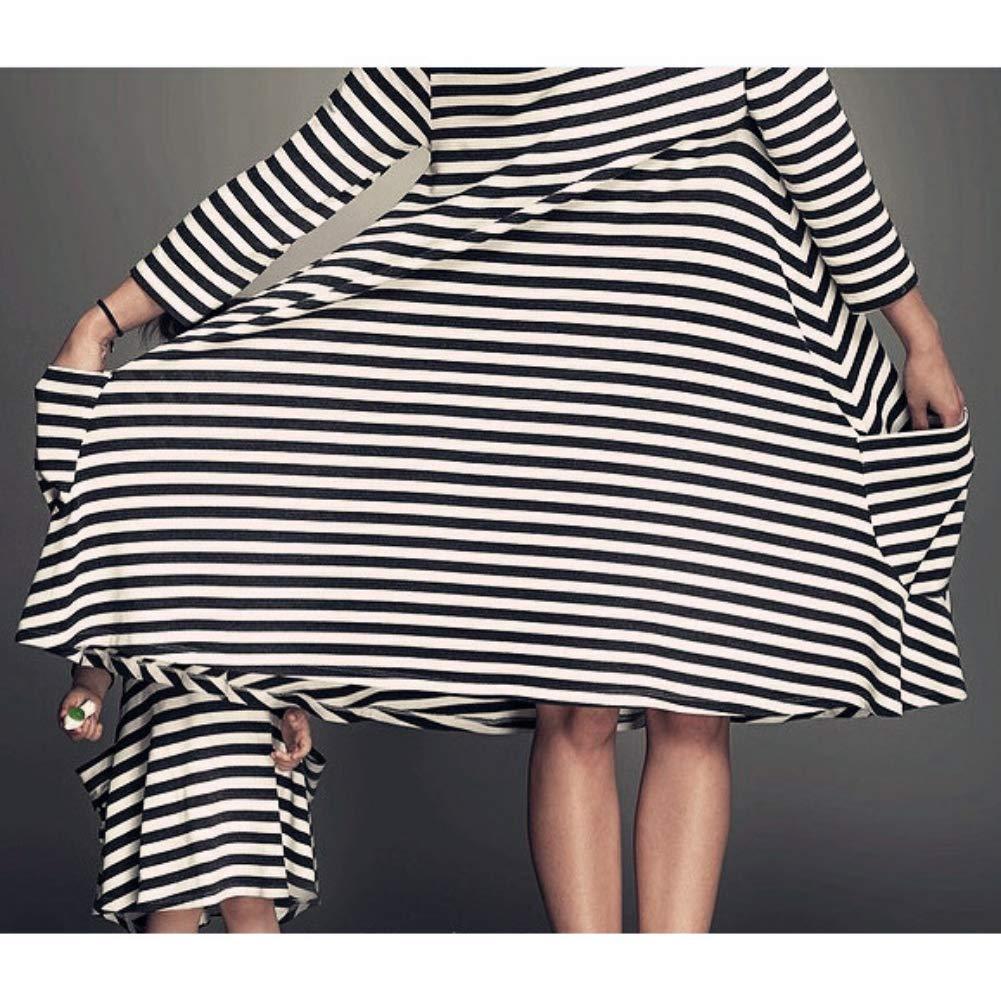 Norbi Elegant Parent-Child Striped Shirt Dress Family Clothes Outfits