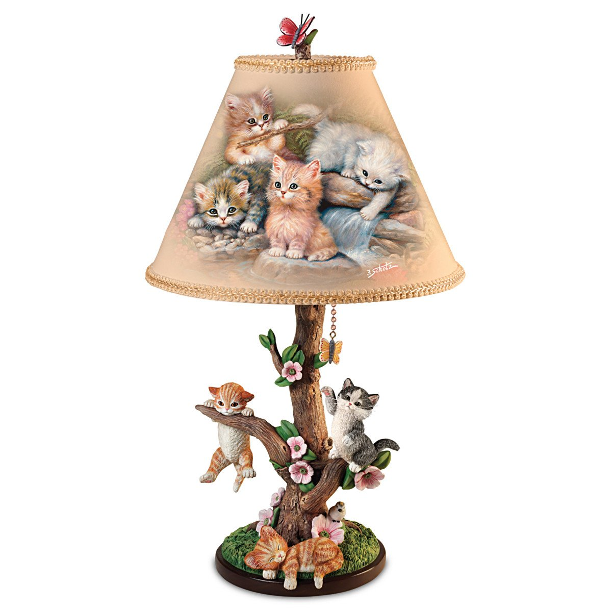 Country Kitties Lamp with Art by Jurgen Scholz! Sculpted Kitties Exploring the Outdoors with Butterfly Finial for Tabletop Lamp - By The Bradford Exchange
