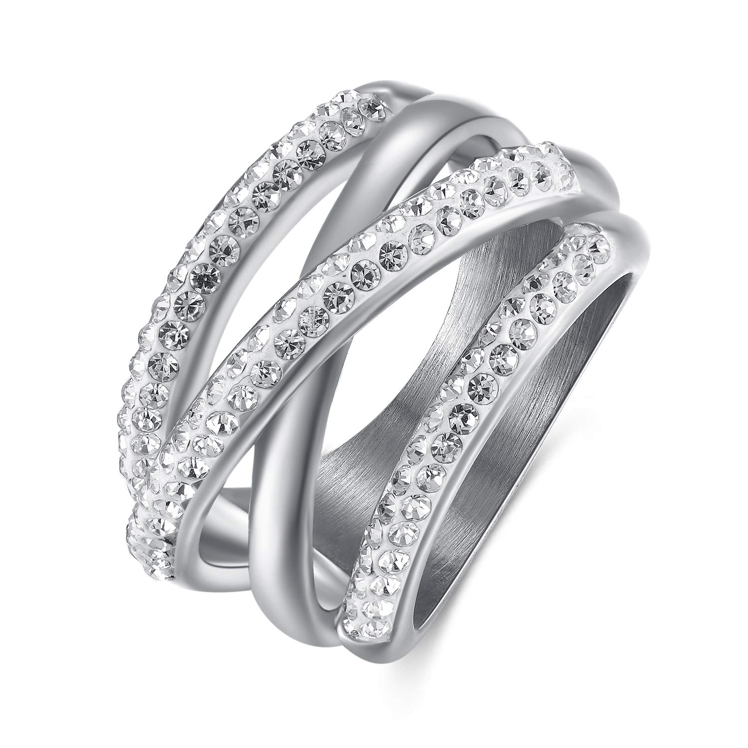 LOGAGA 14MM Wide Cross Rings for Women Cubic Zirconia Ring Stainless Steel Plated Statement Engagement Promise Rings Enhancers Jewelry (7 Size) by LOGAGA