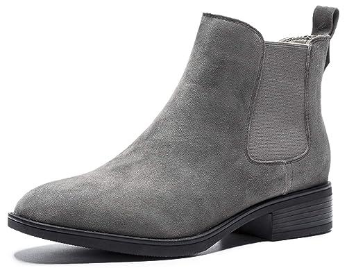 SimpleC Mujeres Martin Boots Clásico Color Puro sin Cordones Punta Redonda, Tacon bajo Botines de Tobillo: Amazon.es: Zapatos y complementos