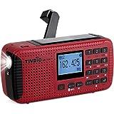 Tivdio HR11W FM AM Radio Dynamo Tragbares Kurbel Solar Notfall Kofferradio Weltempfänger mit USB Powerbank Wireless MP3 Player Digitaler Recorder Taschenlampe SOS Camping Outdoor Survival(Rot)