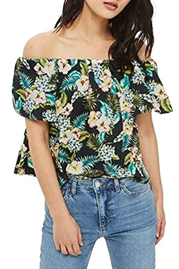 953fb995b9505b Image Unavailable. Image not available for. Color: Topshop Maggie Floral  Off Shoulder Top Multi Color Tropical Women's ...