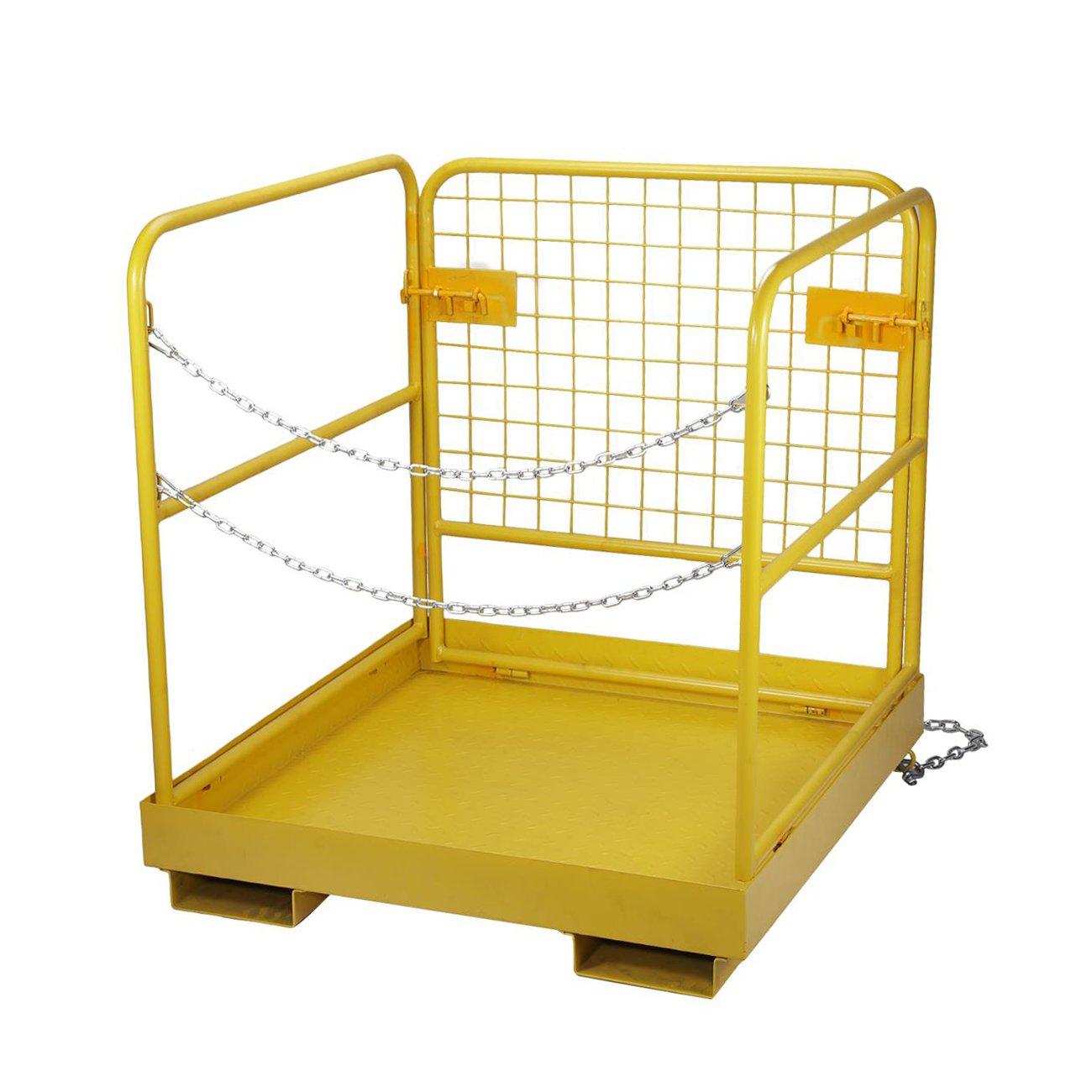 BEAMNOVA Forklift Safety Cage Work Platform Collapsible Lift Basket Aerial Rails 36''x36''