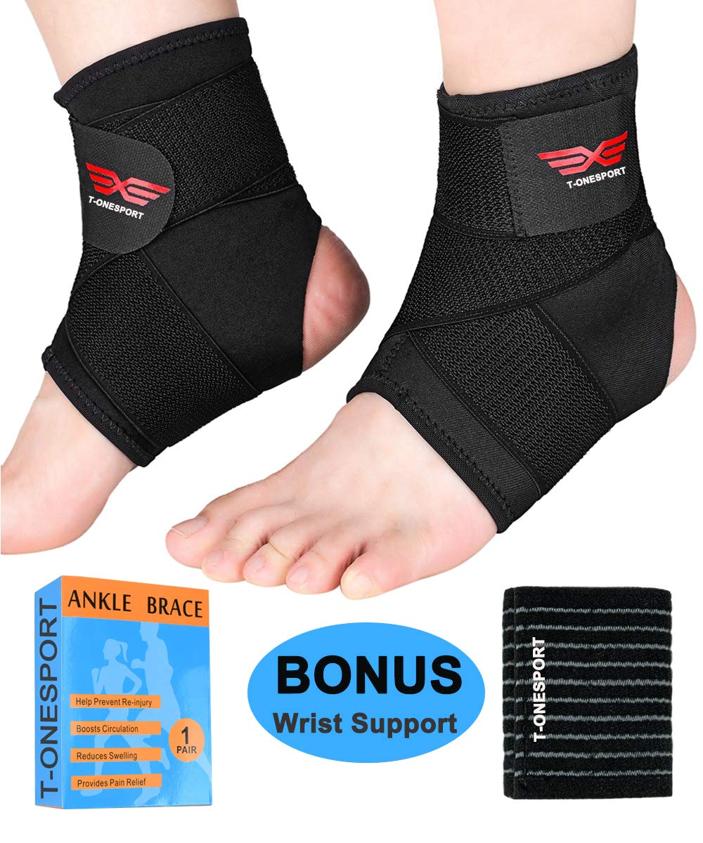 Ankle Brace, 2Pcs Breathable & Strong Ankle Support for Sprained Ankle, Stabiling Ligaments, Prevent Re-Injury, Compression Ankle Brace with Adjustable Wrap (L)