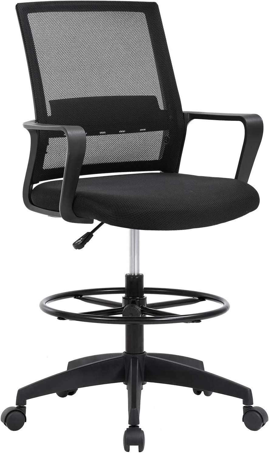 Drafting Chair Tall Office Chair Adjustable Height with Lumbar Support Arms Footrest Mid Back Desk Chair Swivel Rolling Mesh Computer Chair for Adults Standing Desk Drafting Stool(Black)