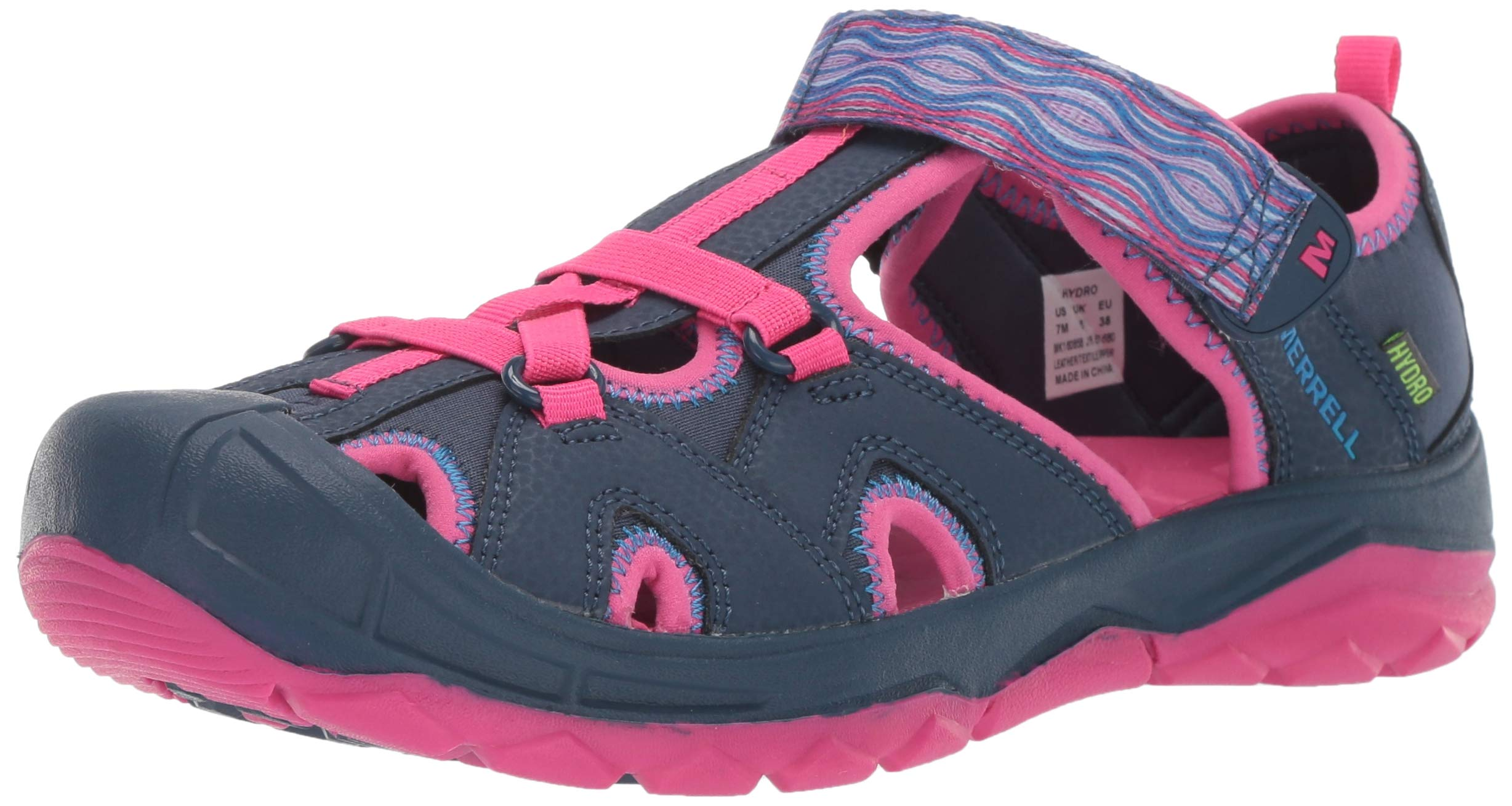 Merrell Girls' Hydro Sandal, Navy/Pink, 5 Wide US Toddler by Merrell