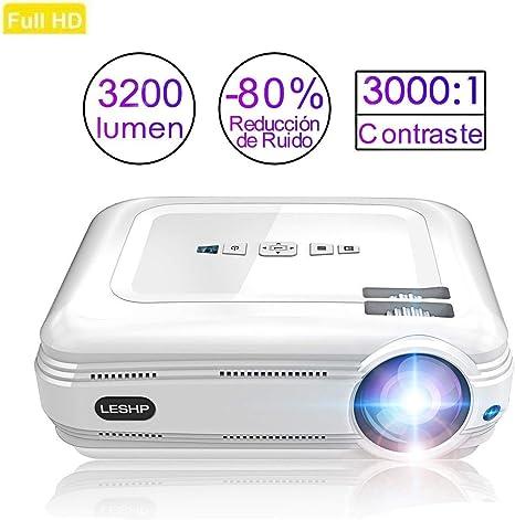 Proyector de vídeo Full HD, leshp retroproyector LED 3200 lumens ...