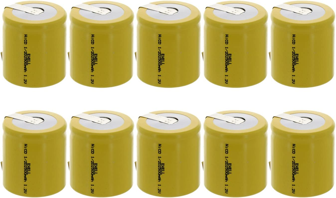 10x Exell 1/2D Size 1.2V 2500mAh NiCD Rechargeable Batteries with Tabs for medical instruments/equipment, electric razors, toothbrushes, radio controlled devices, electric tools 71bVx9McF8L