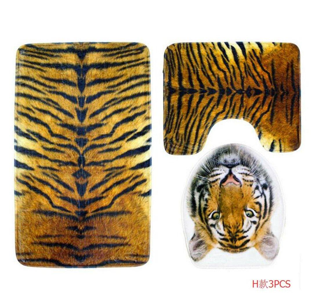 Owls-Yard 3-Piece Bathroom Set Bath Mat Rug Lid Toilet Covers Toilet Seat Cushion Non-Slip Rubber Backing (Tiger)