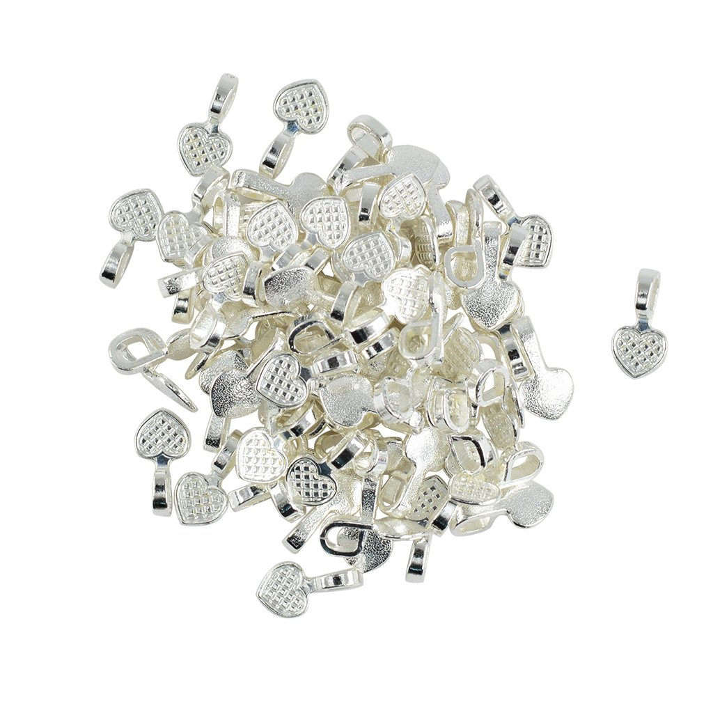 MagiDeal 100 Pieces Shiny Silver White Plated Heart Glue on Bails Setting For Necklaces Earring Pendant Jewelry Design