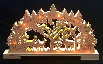Weihnachtsbeleuchtung Lichterbogen.Ambestore Lichterbogen Schwibbogen Winterlandschaft Holz 3d