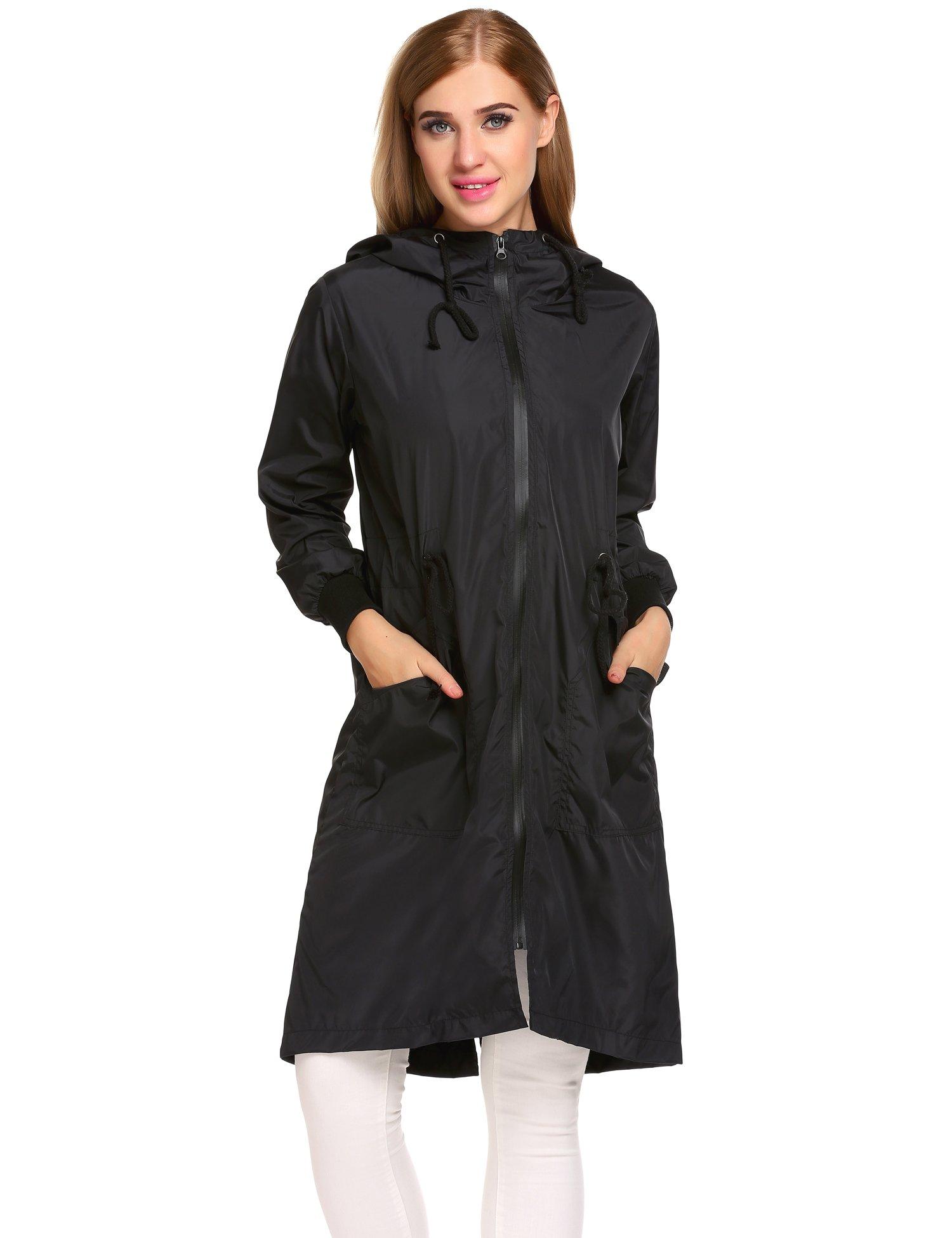 Zeagoo Women's Waterproof Front-Zip Lightweight Hoodie Hiking Cycling Outdoor Raincoat Active Jacket,Black,XXL by Zeagoo (Image #2)