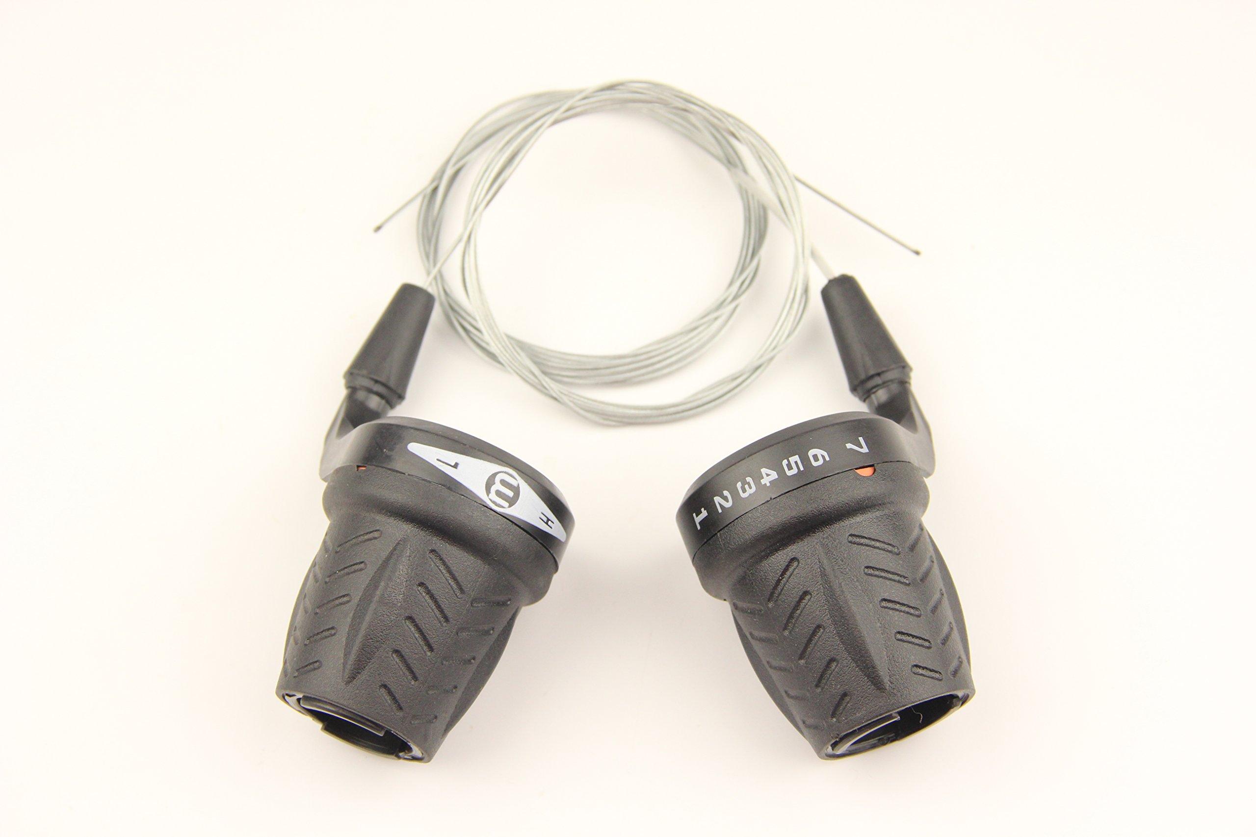Bike Bicycle Twist Grip Gear 3 X 7 Speed Shifters 21 Speed Black