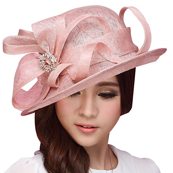 45757d077 June's Young Sinamay Hat Women Hats Ladies Church Hat Cocktail Sun Hat  Ascot Race Derby Hat (Fuschia)