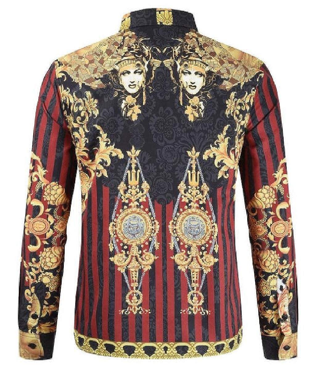 Xswsy XG Mens Classic Slim Luxury Printed Long-Sleeve Button-Down Dress Shirt