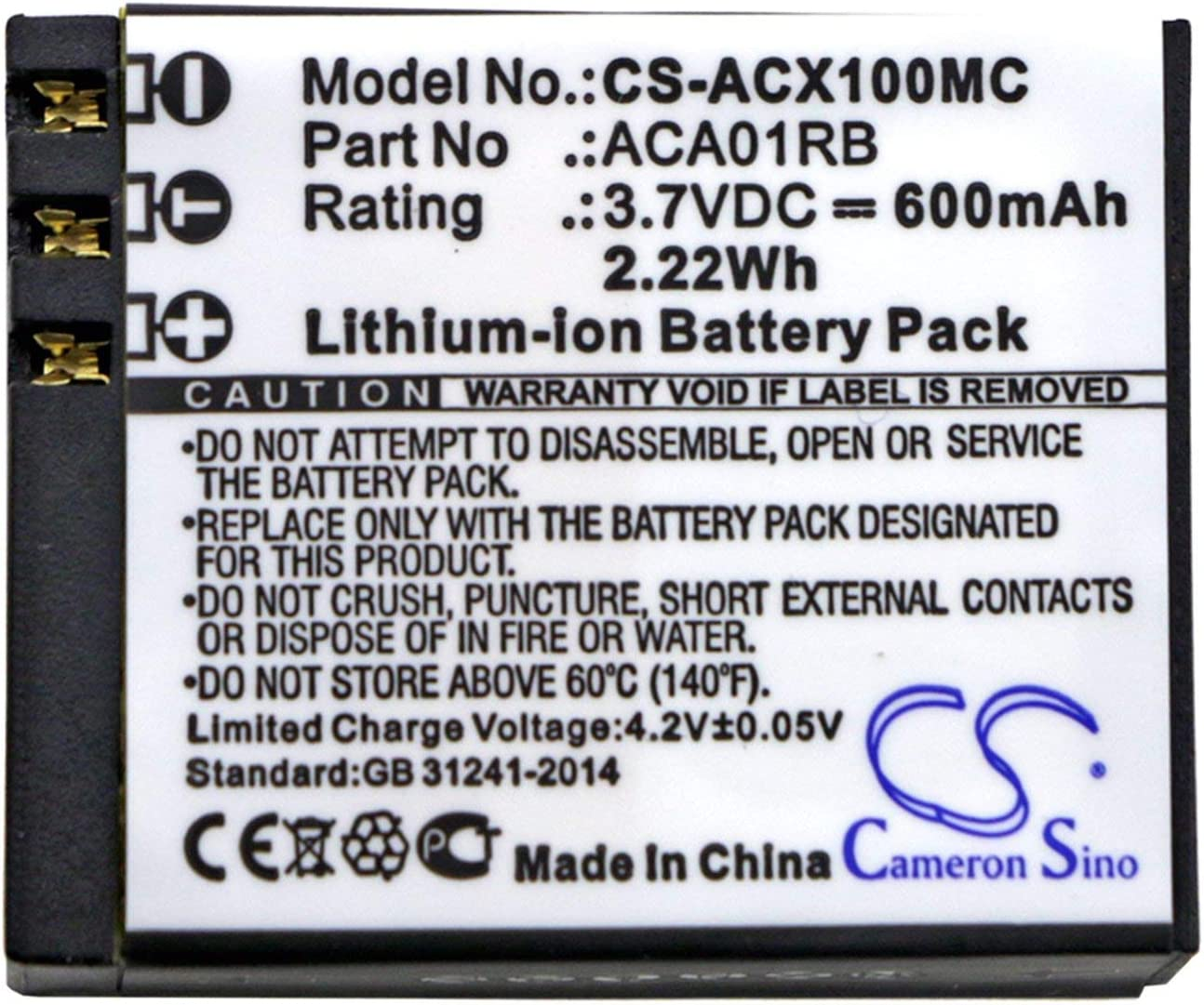 CX Gold VINTRONS ACTIVEON ACA01RB Replacement Battery for ACTIVEON CX CX HD,