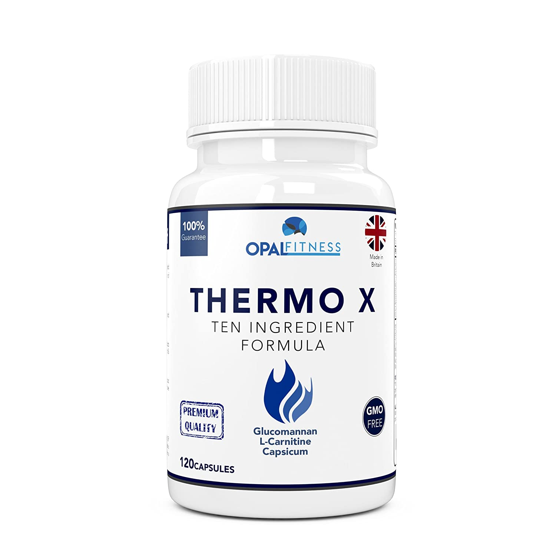 Thermo X Fat Burner Capsules Glucomannan Konjac Fibre L Carnitine L Tyrosine Green Coffee Bean African Mango Chromium Ten Ingredient