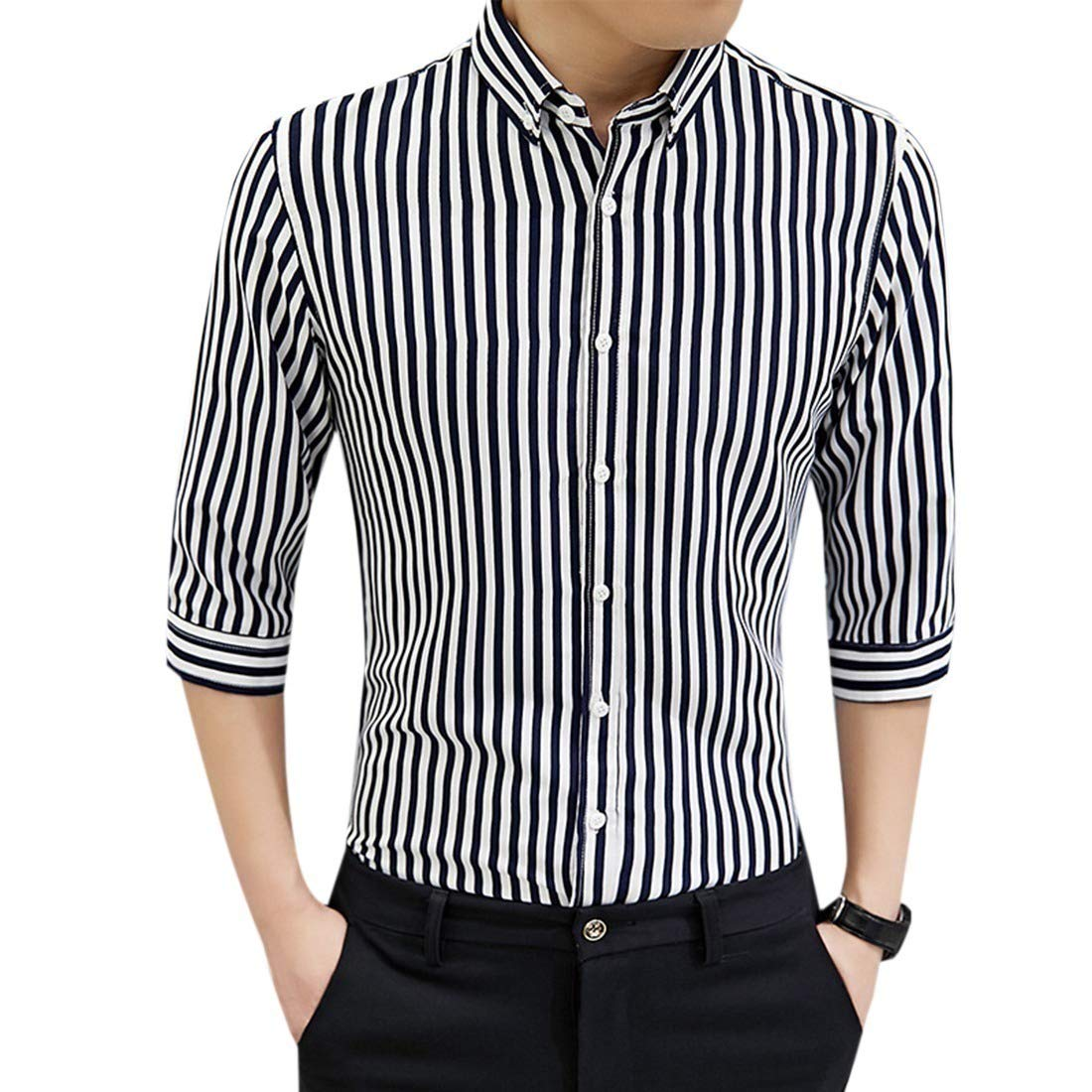 Comaba Men Slim Fit Striped Printed Casual Three Quarter Sleeve Business Shirts 3 S