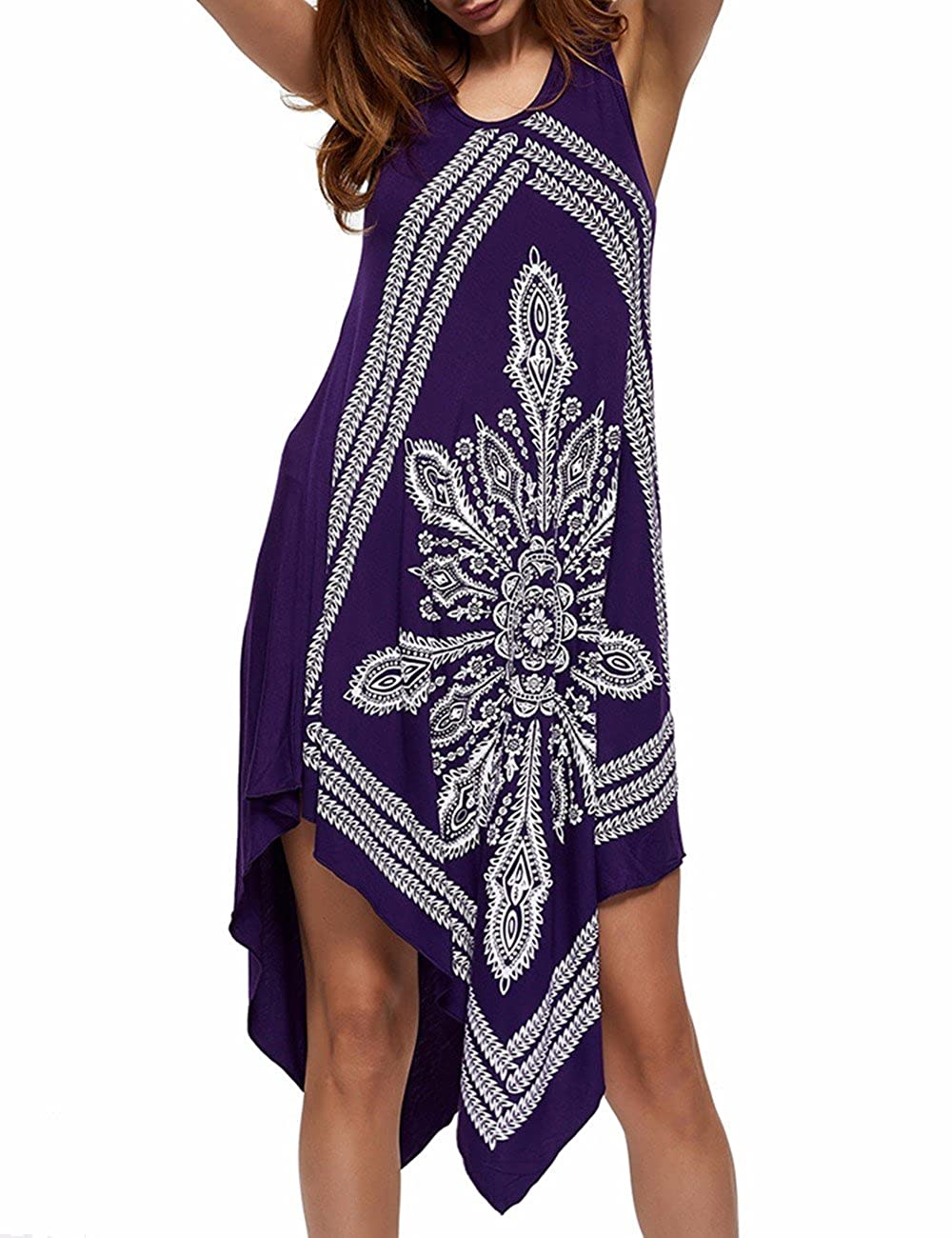 IMAGINE Women's Strapless Floral Print Bohemian Casual Mini Beach Dress